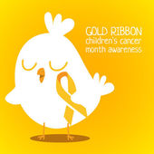 Little chicken with golden ribbon — Stock Vector