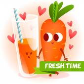 Funny character. fresh carrot. — Stock Vector