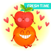 Illustration with funny characters. Love and hearts. Funny food. time fresh. Orange and apple best friends. A couple of fruits — Stock Vector