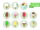 Set icons of ice cream. — Stock Vector