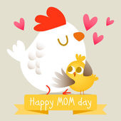 Happy mothers day with chicken. — Stock Vector