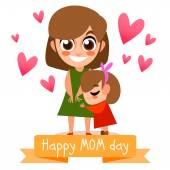 Happy mother's day postcard with people. — Stock Vector