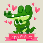 Happy mother's day postcard with crocodiles — Stock Vector