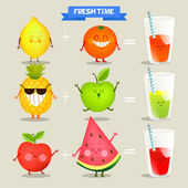 A set of cute fruits. funny characters. — Stock Vector