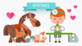 Veterinary Doctor with animal. — Vector de stock
