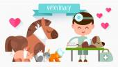 Veterinary Doctor with animal. — Stock Vector