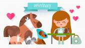 Veterinary Doctor with animals. — Stock Vector