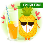Illustration with funny characters. fresh pineapple. — Stock Vector