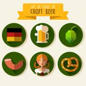 Set of flat icons Oktoberfest — Stock Vector