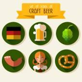 Set of flat icons Oktoberfest — Stok Vektör
