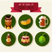 Set of flat icons Oktoberfest — Stock Vector
