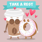 Coffee and donut loving couple — Cтоковый вектор