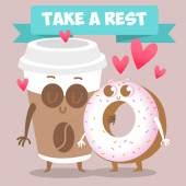 Coffee and donut loving couple — Stock Vector