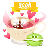 Coffee cup and colorful macaroon — Stock Vector