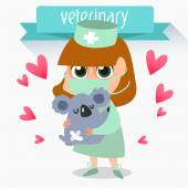 Profession vet. treatment of koala — Stock Vector
