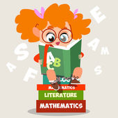 Girl of the textbook on a pile of books — Stock Vector