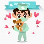 Profession vet. Treatment of lion — Stockvector