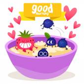 Breakfast Oatmeal with berries — Stock Vector