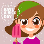 Cheerful girl with ice cream — Stock Vector