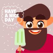 Cheerful man with ice cream — Stock Vector