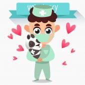 Profession vet. Treatment of panda — Stockvector