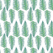 Line Art Fern Leaves Seamless Pattern — Stockvektor