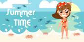 Summer vacation with character design — Stock Vector