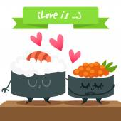 Cute sushi characters — Stock Vector