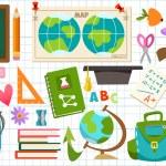 Set of school objects and Schoolgirl — Stock Vector #76775643