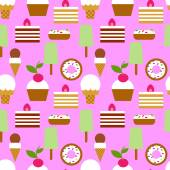 Ice cream and sweets seamless pattern — Stock Vector