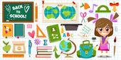Set of school objects and Schoolgirl — Stock Vector