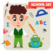 Cartoon school kid — Stock Vector