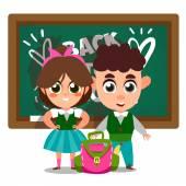 School kids in front of blackboard — Stock Vector