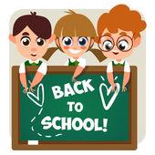 Enfants près d'une Commission scolaire — Vecteur
