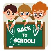Children near a school board — Stock Vector
