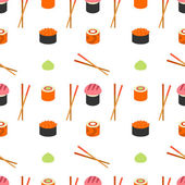 Seamless flat stylised sushi pattern. — Stock Vector