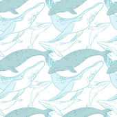 Seamless pattern with whales — Stock Vector
