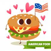 Burger with the American flag — Stock Vector