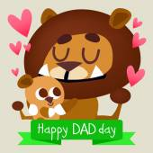 Happy Father's day with lion — Stock Vector