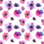 Watercolor Painted flowers pattern — Vettoriale Stock