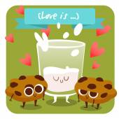 Glass of milk with pieces of cookies — Stock Vector