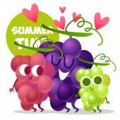 Set of cute grapes — Stock Vector