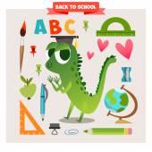 Animal in cartoon style on school theme — Stock Vector