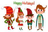 Cartoon Christmas set of elf characters — Stock Vector