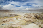 Landscape with fumaroles — Stock Photo