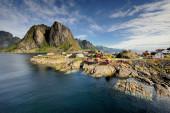 Natursköna staden av reine på lofoten öarna i norge — Stockfoto
