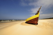Fishing Boats in a Harbour and a Blue Sky, piece of equipment — Stockfoto