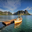 Picturesque fishing port in town of Henningsvaer on Lofoten islands in Norway with typical red wooden buildings and small fishing boats — Stock Photo #58894541