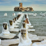 Beautiful winter landscape, and Sea — Stock Photo #58898575