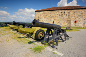 Cannon in a fortress Fredriksstens Fastning, Halden, Norge — Stock Photo